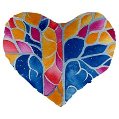 Yellow Blue Pink Abstract  Large 19  Premium Flano Heart Shape Cushion by OCDesignss