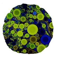 Polka Dot Retro Pattern Large 18  Premium Flano Round Cushion  by OCDesignss