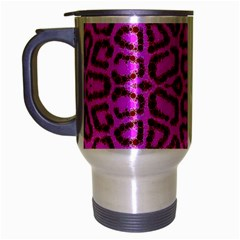 Florescent Pink Animal Print  Travel Mug (silver Gray) by OCDesignss