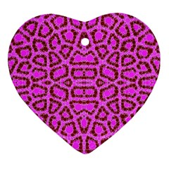 Florescent Pink Animal Print  Heart Ornament (two Sides) by OCDesignss