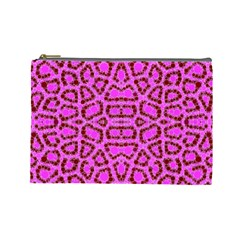 Florescent Pink Animal Print  Cosmetic Bag (large) by OCDesignss