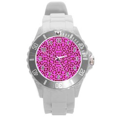 Florescent Pink Animal Print  Plastic Sport Watch (Large) by OCDesignss