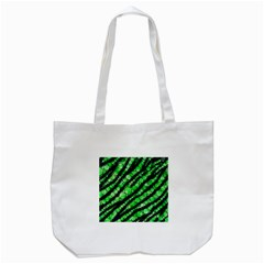 Florescent Green Tiger Bling Pattern  Tote Bag (white) by OCDesignss