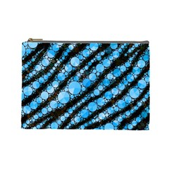 Bright Blue Tiger Bling Pattern  Cosmetic Bag (large) by OCDesignss