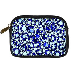 Bright Blue Cheetah Bling Abstract  Digital Camera Leather Case by OCDesignss