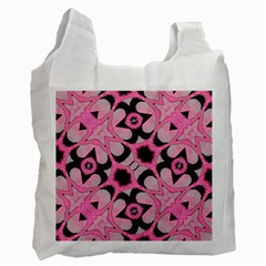 Powder Pink Black Abstract  White Reusable Bag (two Sides) by OCDesignss