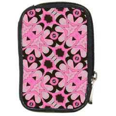 Powder Pink Black Abstract  Compact Camera Leather Case by OCDesignss