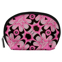 Powder Pink Black Abstract  Accessory Pouch (Large) by OCDesignss