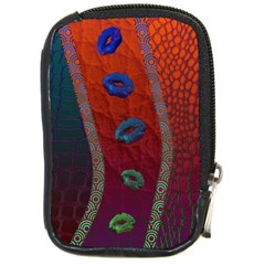 Funky Florescent Sassy Lips  Compact Camera Leather Case by OCDesignss