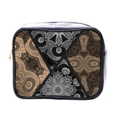 Crazy Beautiful Black Brown Abstract  Mini Travel Toiletry Bag (one Side) by OCDesignss
