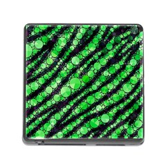 Florescent Green Tiger Bling Pattern  Memory Card Reader With Storage (square) by OCDesignss