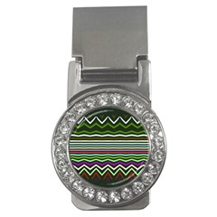 Chevrons And Distorted Stripes Money Clip (cz) by LalyLauraFLM