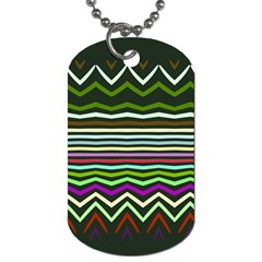 Chevrons And Distorted Stripes Dog Tag (one Side) by LalyLauraFLM