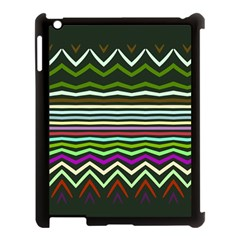 Chevrons And Distorted Stripes Apple Ipad 3/4 Case (black) by LalyLauraFLM