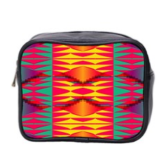 Colorful Tribal Texture Mini Toiletries Bag (two Sides) by LalyLauraFLM
