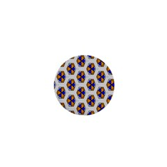 Orange Blue Honeycomb Pattern 1  Mini Button by LalyLauraFLM
