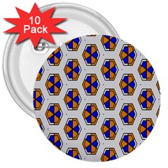 Orange Blue Honeycomb Pattern 3  Button (10 Pack) by LalyLauraFLM