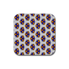 Orange Blue Honeycomb Pattern Rubber Coaster (square) by LalyLauraFLM