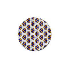 Orange Blue Honeycomb Pattern Golf Ball Marker by LalyLauraFLM