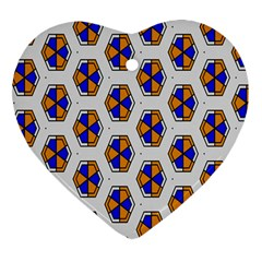 Orange Blue Honeycomb Pattern Heart Ornament (two Sides) by LalyLauraFLM
