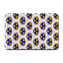 Orange Blue Honeycomb Pattern Small Doormat by LalyLauraFLM