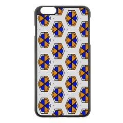 Orange Blue Honeycomb Pattern Apple Iphone 6 Plus Black Enamel Case by LalyLauraFLM