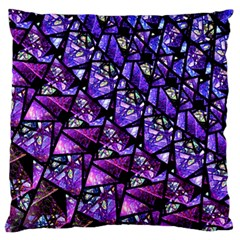 Blue purple Glass Large Flano Cushion Case (Two Sides)