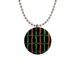 Orange Green Wires 1  Button Necklace by LalyLauraFLM