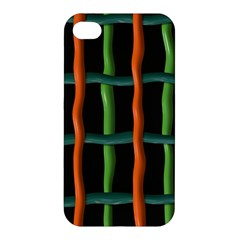 Orange Green Wires Apple Iphone 4/4s Premium Hardshell Case by LalyLauraFLM