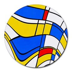 Colorful Distorted Shapes Round Mousepad by LalyLauraFLM