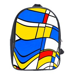 Colorful Distorted Shapes School Bag (xl) by LalyLauraFLM
