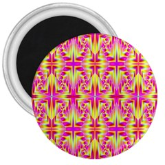 Pink And Yellow Rave Pattern 3  Button Magnet by KirstenStar