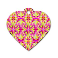 Pink And Yellow Rave Pattern Dog Tag Heart (one Sided)  by KirstenStar