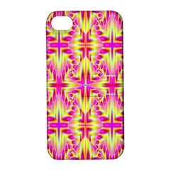 Pink And Yellow Rave Pattern Apple Iphone 4/4s Hardshell Case With Stand by KirstenStar
