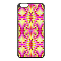 Pink And Yellow Rave Pattern Apple Iphone 6 Plus Black Enamel Case by KirstenStar
