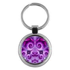 Purple Ecstasy Fractal Key Chain (round) by KirstenStar