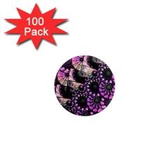 Hippy Fractal Spiral Stacks 1  Mini Button Magnet (100 Pack) by KirstenStar