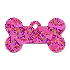 Bright Pink Confetti Storm Dog Tag Bone (one Sided) by KirstenStar