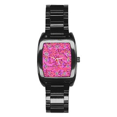 Bright Pink Confetti Storm Stainless Steel Barrel Watch by KirstenStar
