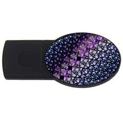 Dusk Blue And Purple Fractal 4gb Usb Flash Drive (oval) by KirstenStar