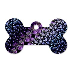 Dusk Blue And Purple Fractal Dog Tag Bone (two Sided) by KirstenStar