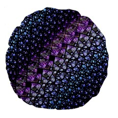 Dusk Blue And Purple Fractal Large 18  Premium Flano Round Cushion  by KirstenStar