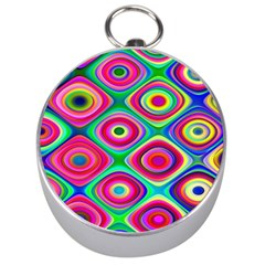 Psychedelic Checker Board Silver Compass by KirstenStar