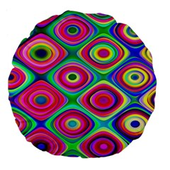 Psychedelic Checker Board Large 18  Premium Flano Round Cushion  by KirstenStar