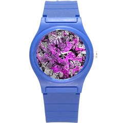 Butterfly Graffiti Plastic Sport Watch (small) by ArtistRoseanneJones