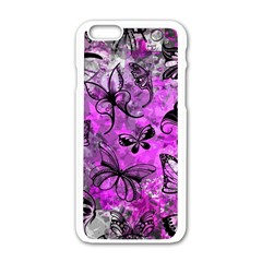 Butterfly Graffiti Apple Iphone 6 White Enamel Case by ArtistRoseanneJones