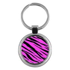 Pink Tiger Key Chain (round) by ArtistRoseanneJones