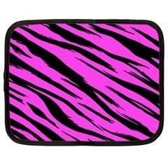 Pink Tiger Netbook Sleeve (xl) by ArtistRoseanneJones