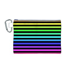 Rainbow Stripes Canvas Cosmetic Bag (medium) by ArtistRoseanneJones