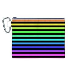 Rainbow Stripes Canvas Cosmetic Bag (Large)